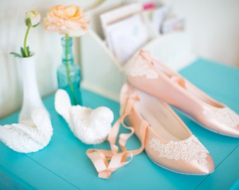 Wedding shoes ballet flats bridal shoes embellished with floral ivory French lace and ankle tie strap removable ribbons