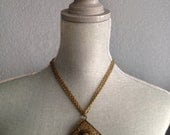 SALE 90's Bronze Diamond Shaped Necklace