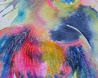 Vibrant Watercolor Parrot Painting by Erika Johnson 5 x 6.5inches (127 x 165.1 mm) Original Art