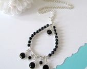 30 inch Black and Silver Chain Necklace Wire Wrapped Pendant (7529)