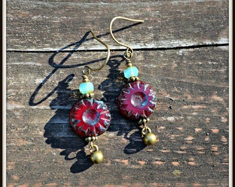 Oxblood Red Czech Glass Earrings handmade black currant red, pale blue and brass jewelry gift