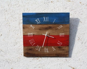Pallet Wood Clock.  Red, White, Blue or Patriotic.  Americana. OR CUSTOM color.  Rustic and Modern.  Reclaimed wood.