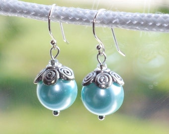 Frosted powder blue with silver earrings