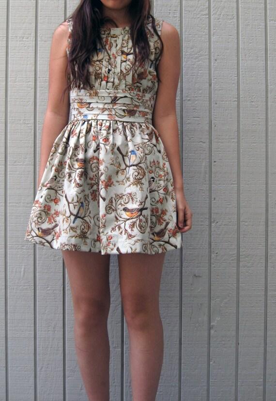 victorian bird pleated tea dress