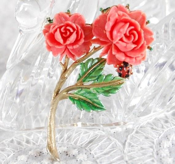 Vintage Carved Celluloid Brooch, Coral Pink Rose Flower, Enamel Leaves Ladybug, Designer JJ, 1970s Spring Summer Floral Nature Jewelry