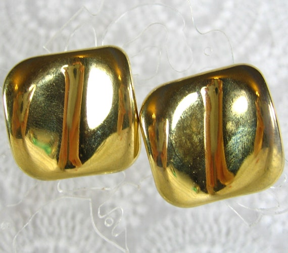Vintage Gold Earrings, Chunky Geometric Squares, Concave, Pierced, 1980s MOD, Christmas Holiday Costume Jewelry