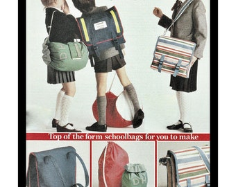 Instant Download PDF Sewing Pattern Tutorial to make School Duffle Bag & PE Bags College Rucksacks Satchels Back Pack Holdall