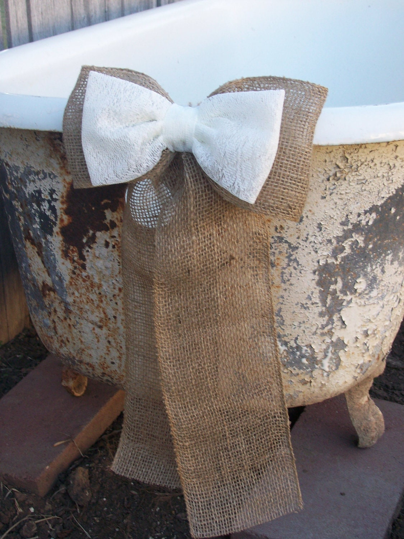 wedding decorations burlap pew bows burlap and lace rustic. Black Bedroom Furniture Sets. Home Design Ideas