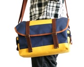 60s Style DSLR Camera Bag - water-repellent durable canvas - Navy/Yellow