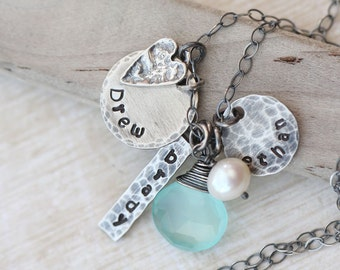 Personalized Necklace, Mother's Necklace, Mothers  Necklace with Heart, Name Necklace, Rustic Mom Necklace