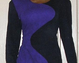 1980s vintage stretch bodycon shoulder pads purple black wave mini dress size medium 6 8
