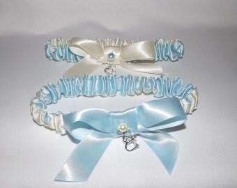 Toss Wedding Garter/Budget Wedding Garter/Ivory White or Blue Bridal Garter/ Wedding Garter Belt