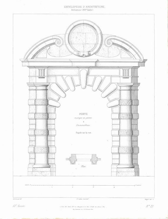 1861 Cobblestone Entrance Architectural Illustration Fontainebleau Palace France
