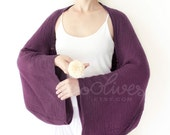 Long Sleeves Cotton Shrug Bolero / Poncho with Coconut Buttons in Dark Purple.