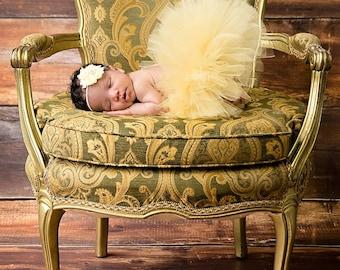 GOLD TUTU Sweetest Gift Tutu Set Holiday Tutu Gold Tutu With Matching Vintage Style Flower Headband Baby Girl Tutu Set Newborn Photo Prop