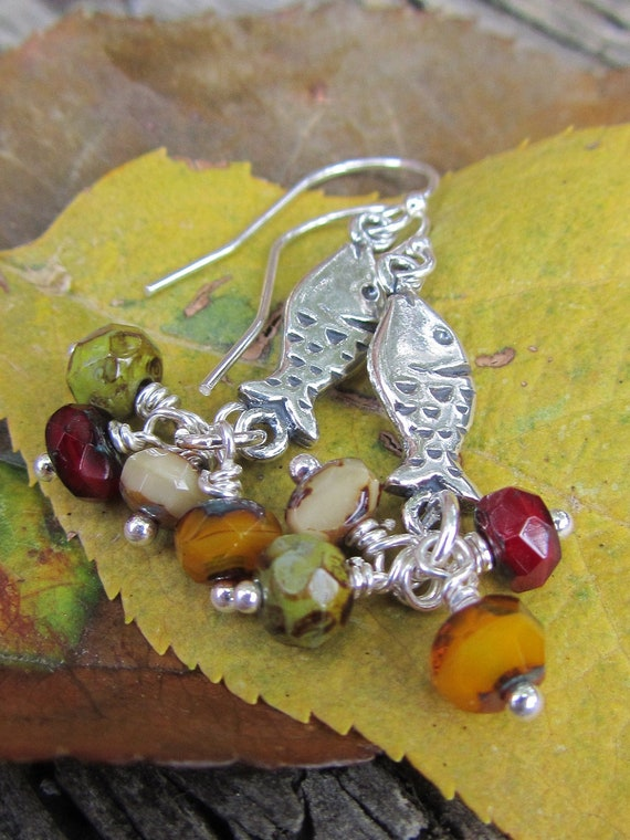 SALE /// Little sterling silver fish and pea green ochre red bead earrings - Ocean dance - SPRING CLEANING Sale