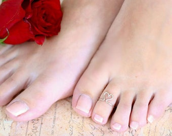 Heart Toe Ring - Choose Silver, Gold or Copper