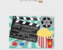 Printable/DIY Movie Night Invitation, Matching Thank You Card - Vintage Movie Night Cinema Theme