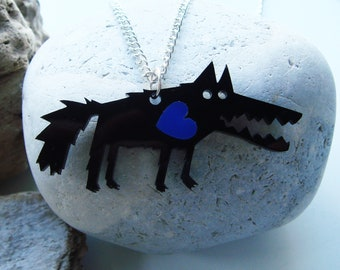 Bramley the Wolf acrylic necklace with a contrasting coloured heart