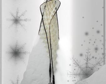 Gift for wife, felt scarf, white, black ,unique, fiber art, designer, artistic