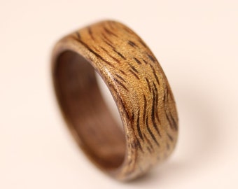 Mango Wood Ring with Walnut Liner - Bentwood Ring - And We Plant A Tree:)