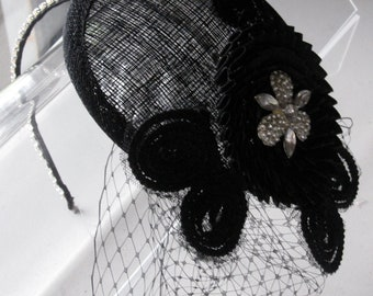 Black Crystal Embroidered Flower Sinamay Fascinator Hat with Veil and Crystal Headband, for weddings, evening, parties, special occasions