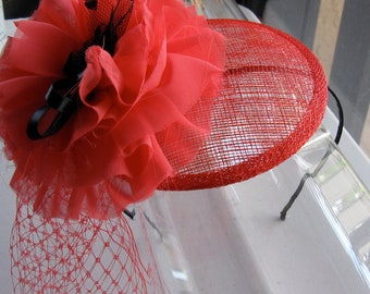 Coral Red Chiffon Flower Sinamay Fascinator Hat with Veil and Satin Headband, for weddings, parties, cocktail, special occasions