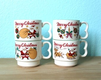 vintage Christmas stacking mugs // set of four