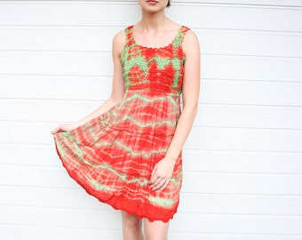 Vintage Red and Green Crochet and Crinkled Tie Dye Sundress