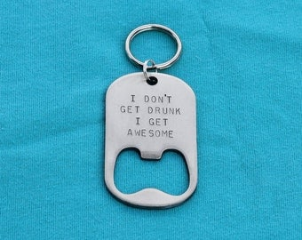 Stocking Stuffer Gift - Personalized Key Chain Beer Bottle Opener