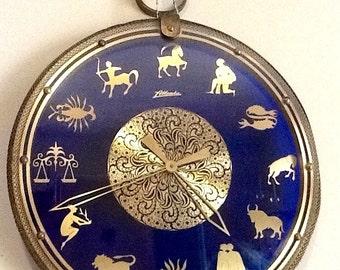 Vintage Mid Century Wall Clock Cobalt Blue Glass Brass Atlanta  Mauthe German Atlanta brand  Key Wound Rare Antique  Art Deco Wall Hanging