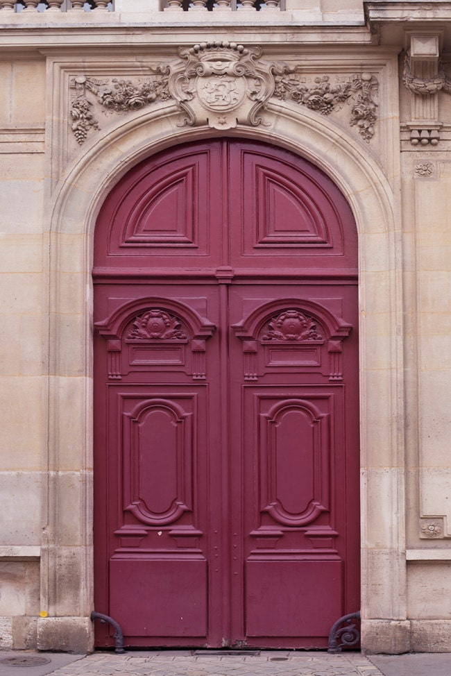 🔎zoom & Paris Door Photograph Maroon Door Parisian Architecture Pezcame.Com