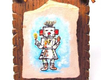 Vintage Kachina Doll Painting on Stone Plaque Hopi Tribal