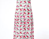 70s Vintage Maxi Dress Watermelon Bird Block Print Small Medium