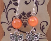 Poppy Orange Faceted Glass Bead and Antiqued Silver Owl Earrings