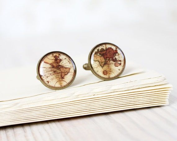 Men cufflinks - Vintage World map cufflinks - Wedding cuff links for groom, groomsmen