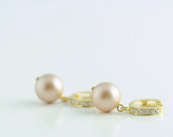 Gold Bridal Earrings. Powder Almond Pearl on Diamante Earrhoops. Bridal Jewelry. Bridesmaid Jewelry. Bridal, Wedding Gift. Timeless. Classic