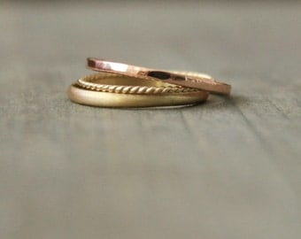 "Gold Stacking Rings Rose Gold Yellow Gold Stacking Rings Gold Bands Solid Gold 14 k Solid Gold Band--""Trois"""