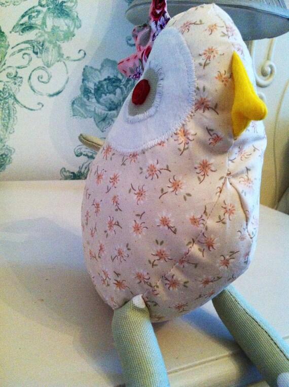 Meet Miranda. The Floral Cream Chicken Soft Toy