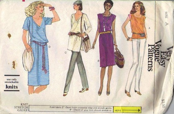 Vogue Sewing Pattern 80s Very Easy Pullover Dress Long Tunic Short Sleeve Shirt Top Shirt Loose Fit Boho Style Bust 30