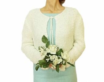 Handmade Knit Cardigan, Bridal Cardigan, Silvery, White, White Cardigan, Bridal Cardigan, Wedding Clothing, Bridal accessories