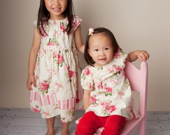 Sisters Set - Natural Simple Floral Dress - Wedding - Party Dress - Children Clothing - Girls Clothing - Girls Summer Pattern - 12M to 7T
