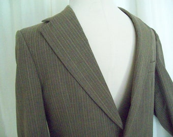 Vintage mens sportcoat, suit jacket, blazer, 70s brown pinstripe Botany 500