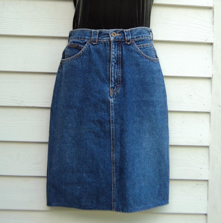denim pencil skirt vintage 90s grunge high waisted knee length