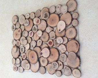 47% OFF! Sliced Wood Art - 'The Thicket' - Abstract Wood Art - Floating/Layered Tree Slices on Clear Panel - Nature Home Decor