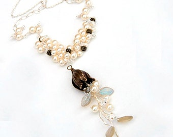 Off White Beaded Necklace, Pearl Necklace, Fairy Jewelry, Woodland Wedding Jewelry