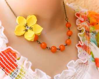 yellow flower necklace, Flower Necklace, cherry blossom necklace