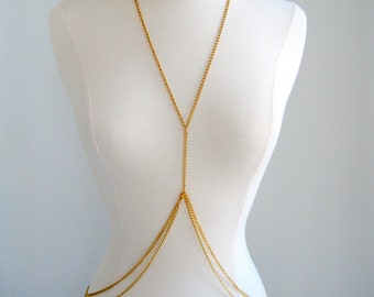 Double Loop Gold Body Chain, chain body harness, waist chain, silver body chain, harness body chain, handmade bodychain, gold body harness