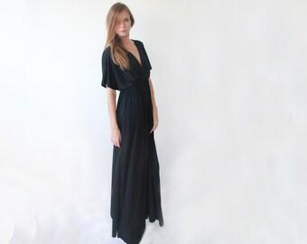 Black maxi formal dress , Black bat wings sleeves dress , Short sleeves maxi gown 1002