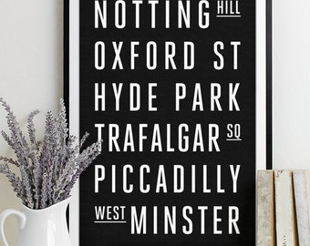Wall Art Subway Sign Typography Poster - Modern Art Print LONDON City
